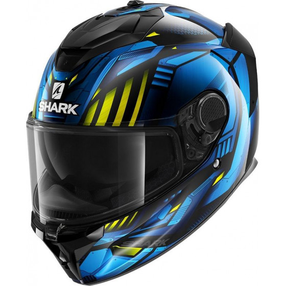 CASCO SHARK SPARTAN GT REPLIKAN BLACK CHROM BLUE