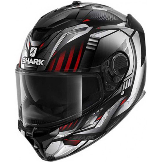 CASCO SHARK SPARTAN GT REPLIKAN BLACK CHROM SILVER